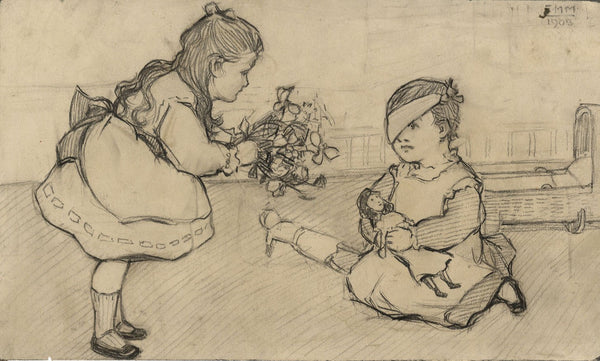 Ethel M. Mallinson, Children Playing Doctors - Original 1908 charcoal drawing