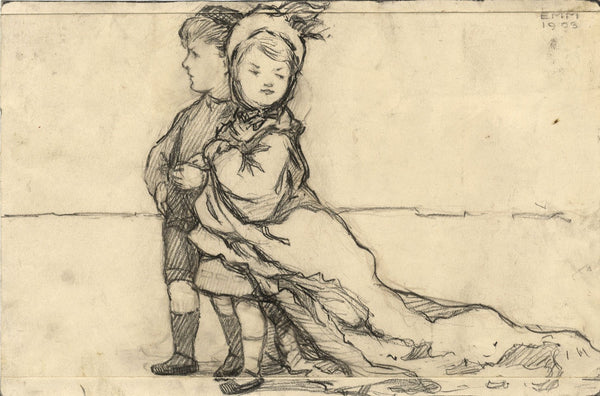 Ethel M. Mallinson, Children Playing Dressing Up - 1908 charcoal drawing