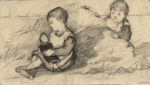 Ethel M. Mallinson, Children Playing with Doll - 1908 charcoal drawing