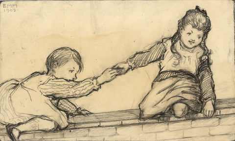 Ethel M. Mallinson, Children Climbing on a Wall -1908 charcoal drawing