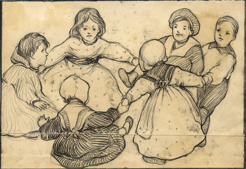 Ethel M. Mallinson, Children Playing Ring a Ring o' Roses -1908 charcoal drawing