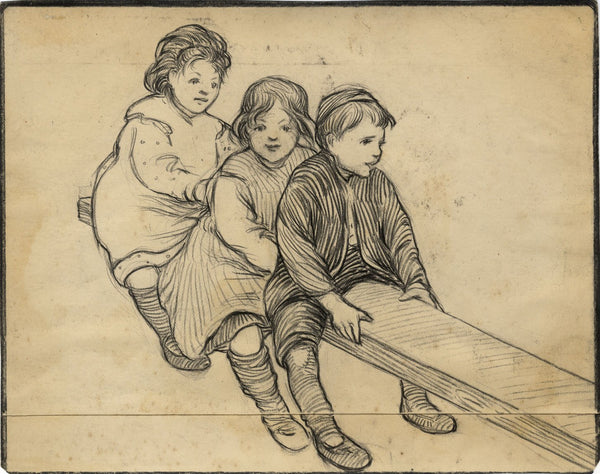 Ethel M. Mallinson, Children Playing on Seesaw - 1908 charcoal drawing