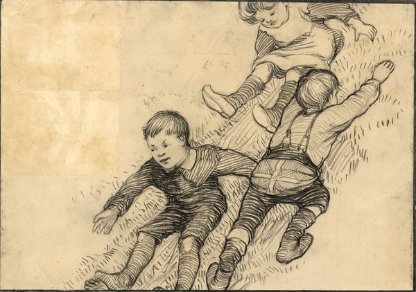 Ethel M. Mallinson, Children Sliding Down a Bank - 1908 charcoal drawing