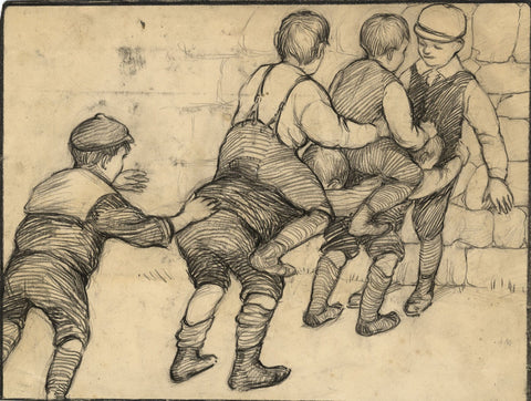 Ethel M. Mallinson, Children Playing - Original 1908 charcoal drawing