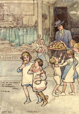 Ethel M. Mallinson, Children Given Cakes from Shop - 1921 watercolour painting