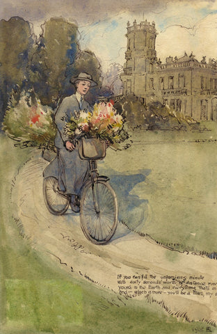 Ethel M. Mallinson, J.B.Kitson on Bike, Elmet Hall, Leeds - 1918 watercolour