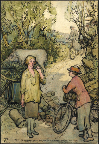 Ethel M. Mallinson, Women Cyclists on the Road - 1919 watercolour painting