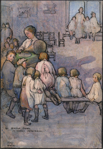 Ethel M. Mallinson, Children's Music Lesson with Gramophone - 1919 watercolour