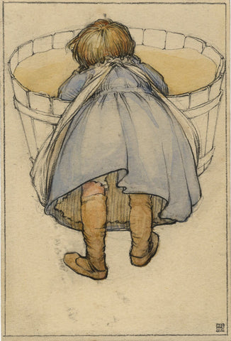 Ethel M. Mallinson, Child Washing in Tub - 1906 watercolour painting