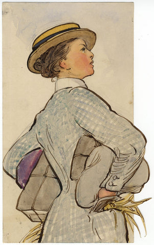 Ethel M. Mallinson, Stoic Woman with Parcels - Early 20th-century watercolour
