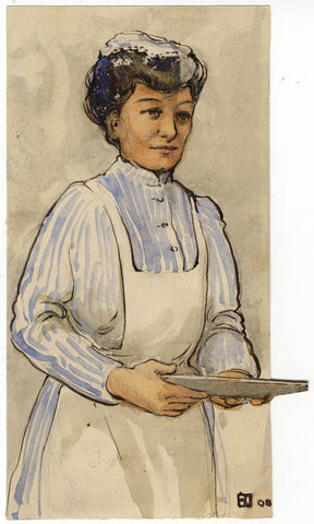 Ethel M. Mallinson, Maid in Apron Portrait - 1908 watercolour painting