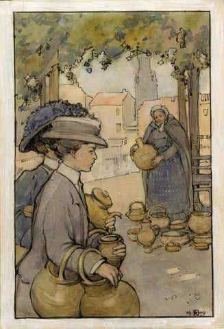 Ethel M. Mallinson, At Pot Market, Bruges, Belgium - 1909 watercolour painting