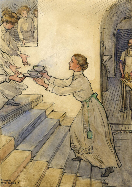 Ethel M. Mallinson, Industrious Maid Serving Tea - 1910 watercolour painting
