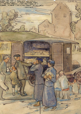 Ethel M. Mallinson, Queuing at Chicken Van, New Abbey Scotland -1916 watercolour