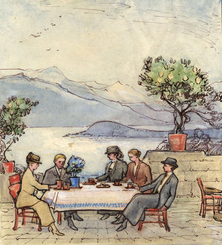 Ethel M. Mallinson, Dining by Lake, Italy - Early 20th-century watercolour