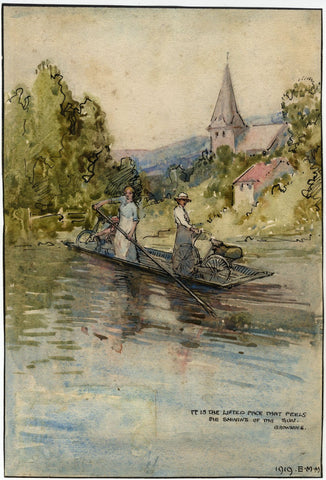 Ethel M. Mallinson, Taking Bicycles on River Punt - 1919 watercolour painting