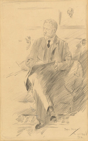 Phil May RI RP NEAC , Portrait of E.T. Reed Sketching - 1902 graphite drawing