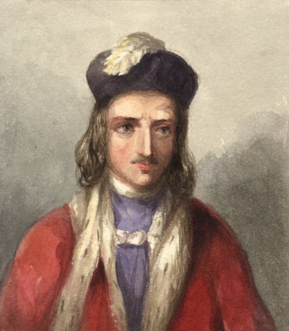 Lady Susan Harriet Holroyd, Elizabethan Man in Feathered Cap -c.1845 watercolour