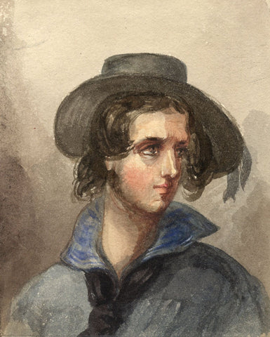 Lady Susan Harriet Holroyd, Elizabethan Man in Felt Hat - c.1845 watercolour