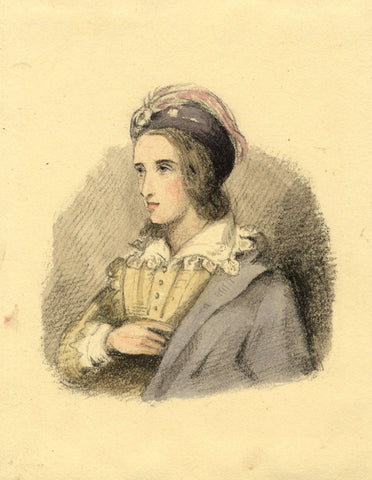 Lady Susan Harriet Holroyd, Elizabethan in Feathered Turban - c.1845 watercolour