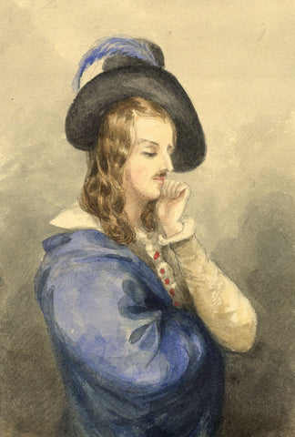 Lady Susan Harriet Holroyd, Portrait of Ettore Fieramosca - c.1845 watercolour