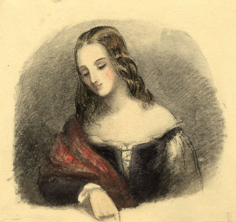 Lady Susan Harriet Holroyd, Elizabethan Lady in Thought - c.1845 watercolour