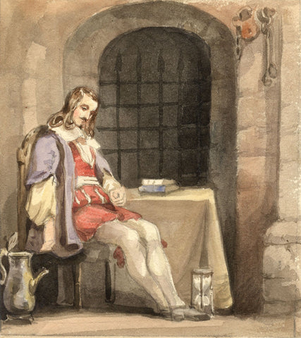 Lady Susan Harriet Holroyd, Elizabethan Man with Hourglass - c.1845 watercolour