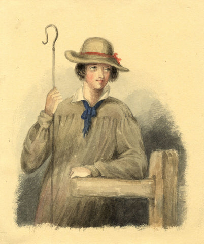 Lady Susan Harriet Holroyd, Shepherd Boy - c.1845 watercolour painting
