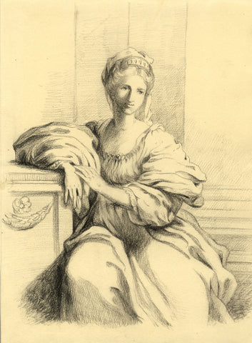 Lady Susan Harriet Holroyd, Classical Portrait of a Lady -c1845 graphite drawing