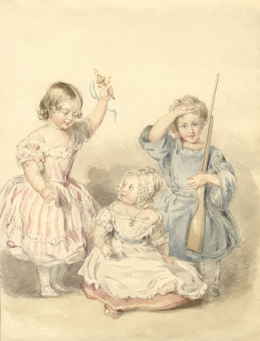 S.H. Holroyd, Princess Royal, Prince of Wales & Princess Alice - c.1845 painting