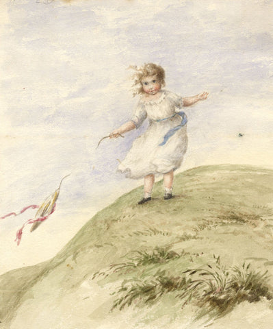 Hannah Mary Rathbone, Young Girl on Windy Day -19th-century watercolour painting
