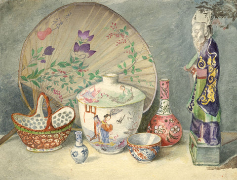 Hannah Mary Rathbone, Chinoiserie Still Life - 19th-century watercolour painting