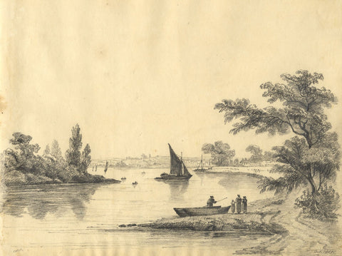 C.B. Pearson, View on Estuary with Figures & Boats - 1819 graphite drawing