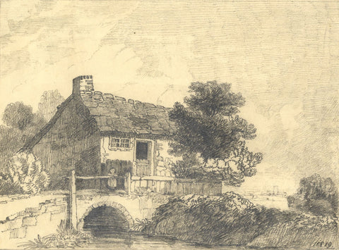C.B. Pearson, Cottage at Dulwich, Surrey - Original 1819 graphite drawing