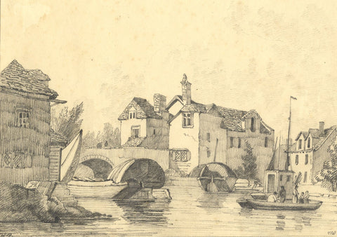 C.B. Pearson, Folly Bridge, Thames, Oxford - Original 1819 graphite drawing