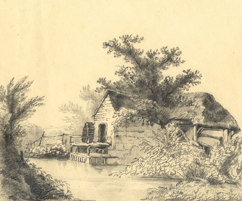C.B. Pearson, Mill near Lewes, Sussex - Original 1821 graphite drawing