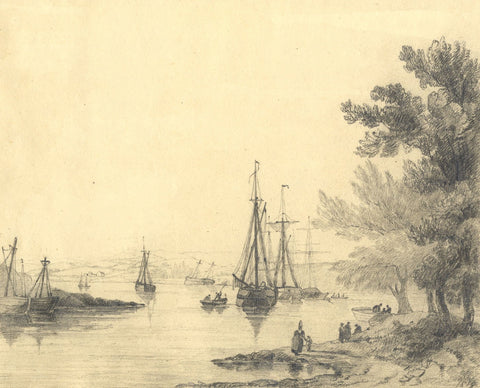 C.B. Pearson, Estuary View with Figures & Boats - Original 1819 graphite drawing