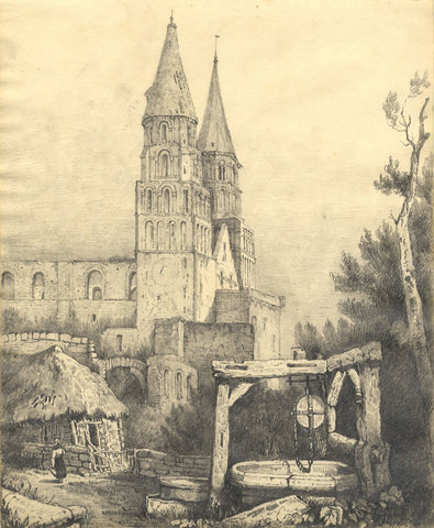 C.B. Pearson, Jumièges Abbey after John Sell Cotman - 1822 graphite drawing