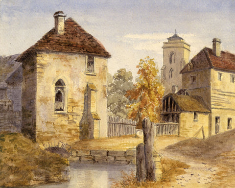 Continental Village Buildings - Original early 20th-century watercolour painting