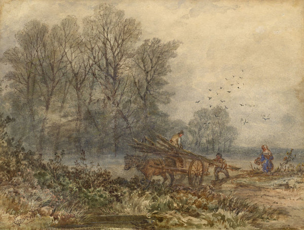 C. Haworth, Wood Carting, A March Morning - Late 19th-century watercolour