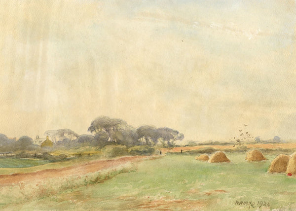 W.W. Ward, Haystacks near Billingham, County Durham - 1924 watercolour painting