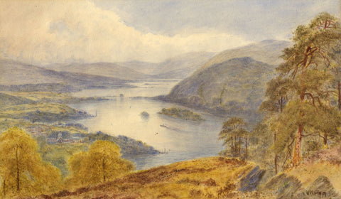 V. Allan[?], Extensive Loch View - Late 19th-century watercolour painting