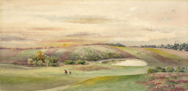 Sunset on the Golf Links - Original early 20th-century watercolour painting