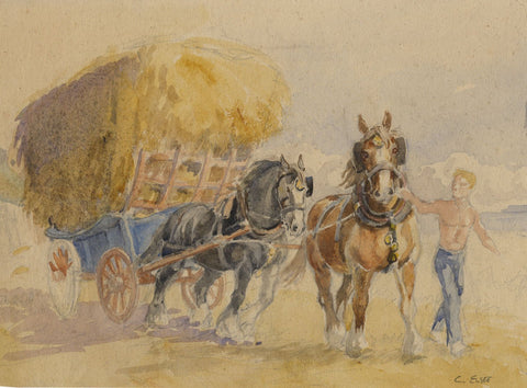 Cecil 'Mogs' Elgee, Horses Pulling Hay Cart - Mid-20th-century watercolour