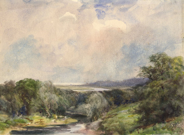 Porthkerry, Wales - Original mid-20th-century watercolour painting