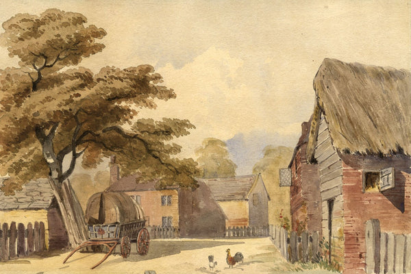 Farmyard Scene with Chickens - Original early 20th-century watercolour painting
