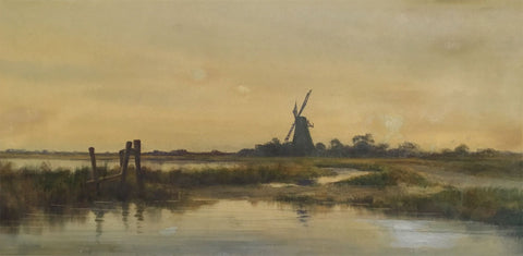 Fen Landscape with Windmill at Dusk - Original mid-20th-century gouache painting