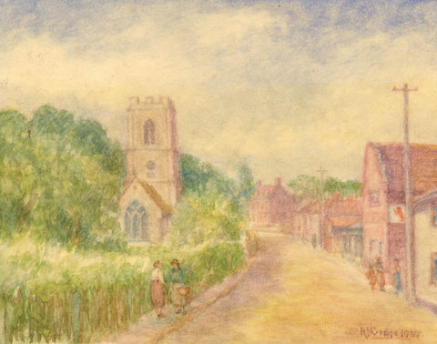 Robert J. Gedge, St John the Baptist Church, Coltishall - 1957 watercolour