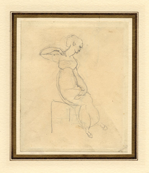 Attrib William Etty RA, Female Figure Study -Early 19th-century graphite drawing