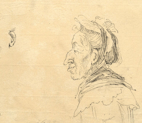 Giovanni Battista Cipriani RA, Italian Peasant Woman - 18th-century ink drawing
